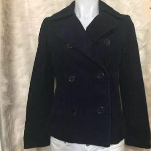 Gap Womens Corduroy Peacoat Blue Notched Jacket XS